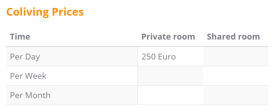 Coliving prices