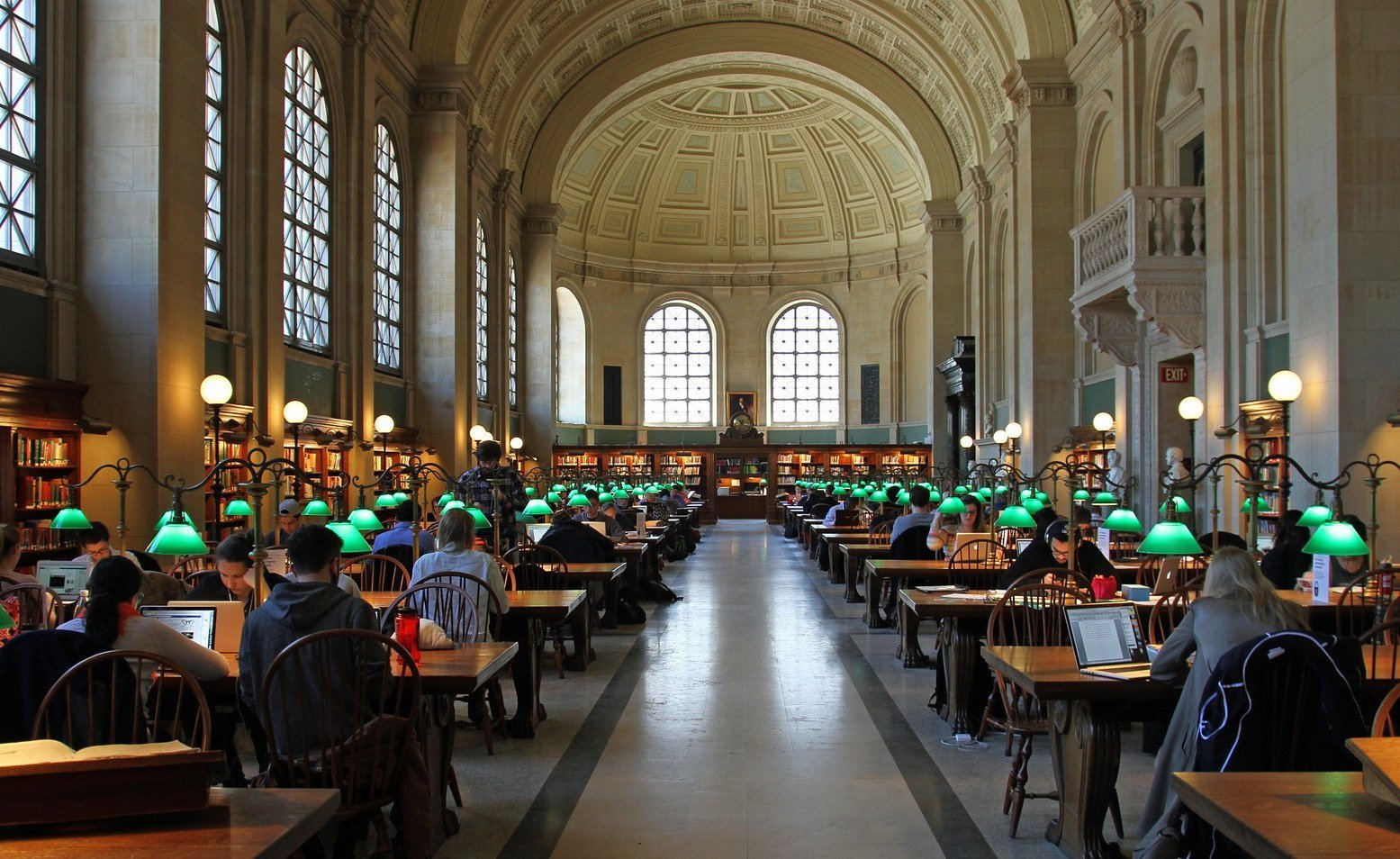People working at tables in historical library.