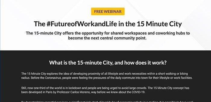 Webinar: The #FutureofWorkandLife in the 15 Minute City