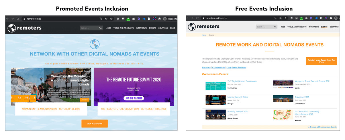 Remote Events Inclusions in Remoters
